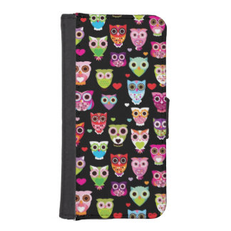cute colourful owl kids pattern iPhone SE/5/5s wallet case