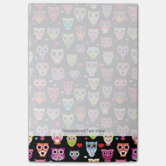 cute colourful owl kids pattern post-it® notes