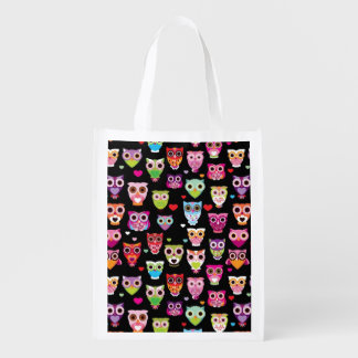 cute colourful owl kids pattern reusable grocery bag