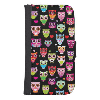 cute colourful owl kids pattern samsung s4 wallet case