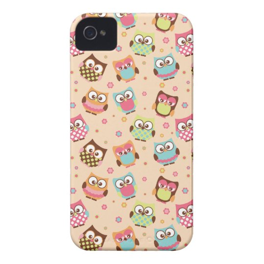 Cute Colourful Owls iPhone Case (pale apricot)