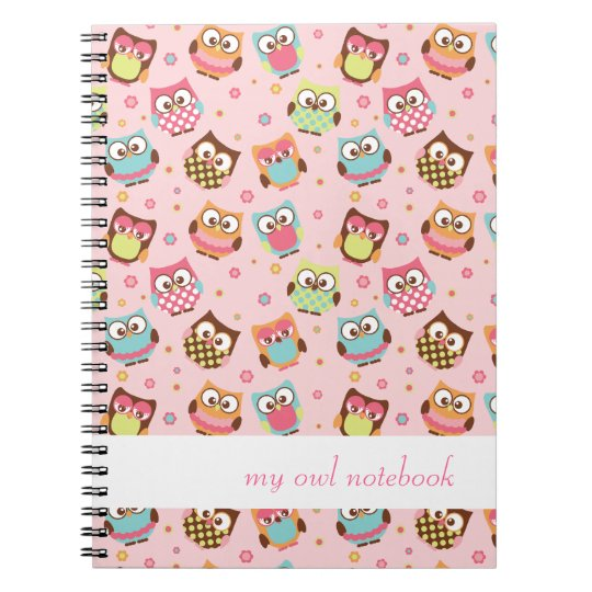Cute Colourful Owls Notebook (rose)