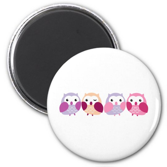 Cute Colourful Owls - Pink and Purple Pastels 6 Cm Round Magnet