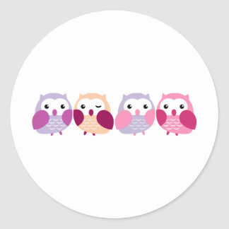 Cute Colourful Owls - Pink and Purple Pastels Round Sticker