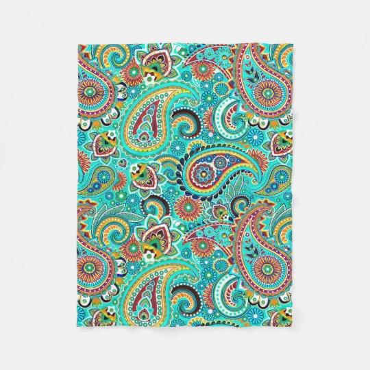 Cute Colourful Paisley Fleece Blanket