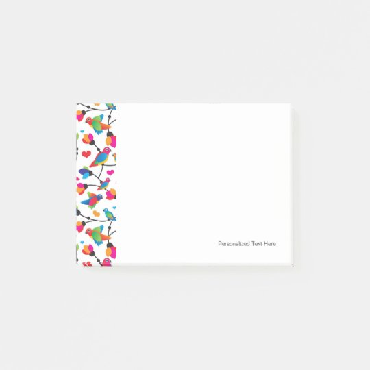cute colourful parrot bird post-it notes