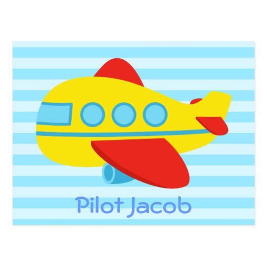 Cute, Colourful Passenger Plane for Little Pilot Postcard