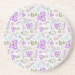 Cute colourful pastel paisley patterns sandstone coaster
