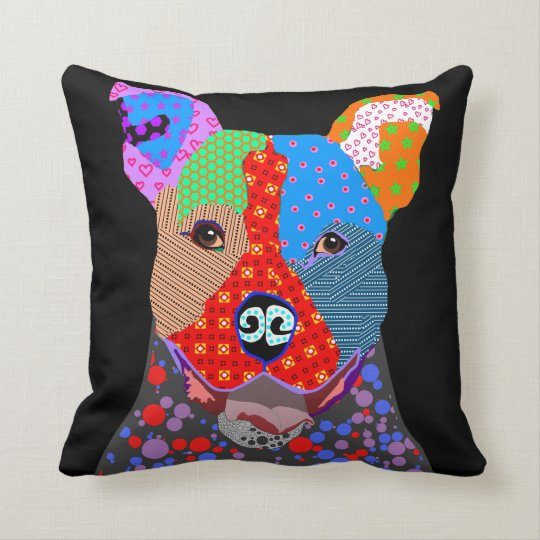 Cute Colourful Patchwork Pitbull Dog Cushion