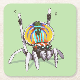 Cute Colourful Peacock Spider Drawing Art Coasters