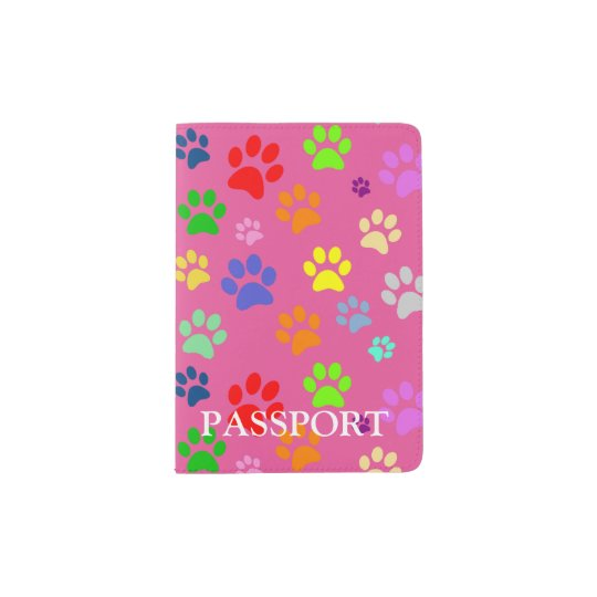 Cute Colourful Pet Paw Prints Pattern Passport Holder