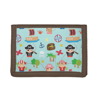 Cute Colourful Pirate Treasure Pattern For Kids Tri-fold Wallet