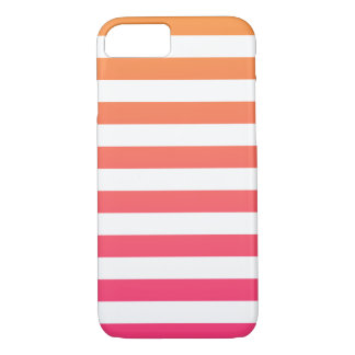 Cute Colourful Preppy Orange Pink White Stripes iPhone 8/7 Case