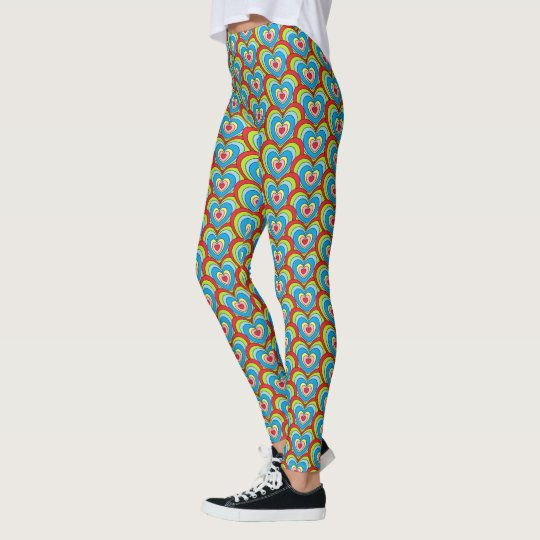 Cute Colourful Rainbow Hearts All Over Pattern Leggings