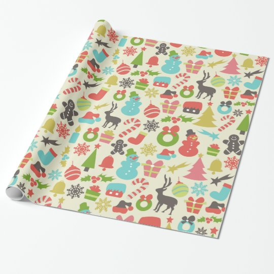 Cute Colourful Retro Christmas Wrapping Paper