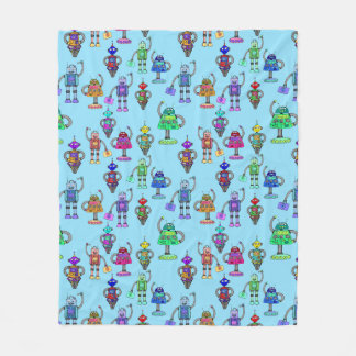 Cute colourful robots on blue background fleece blanket