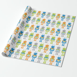Cute Colourful Robots Wrapping Paper