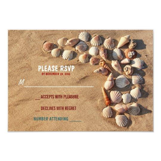 cute colourful seashells beach wedding RSVP cards
