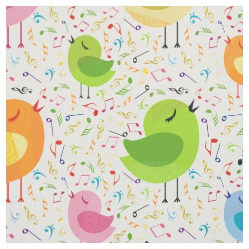Cute Colourful Singing Birds & Music Notes Fabric