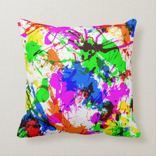 Cute colourful splatter paint design cushion