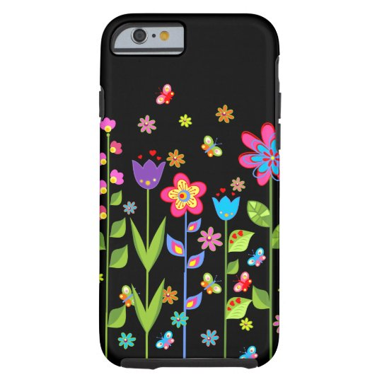 Cute Colourful Spring Flowers & Butterflies 2 Tough iPhone 6 Case