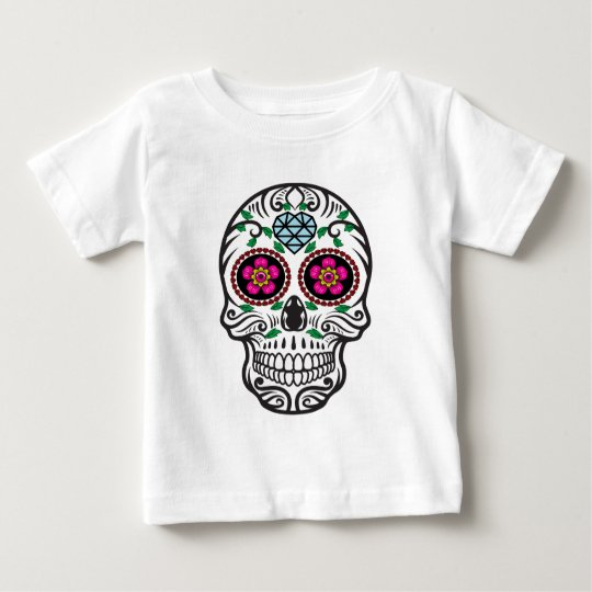 Cute Colourful Sugar Skull Dia de los Muertos Baby T-Shirt
