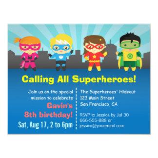 Cute Colourful Superhero Birthday Party 11 Cm X 14 Cm Invitation Card