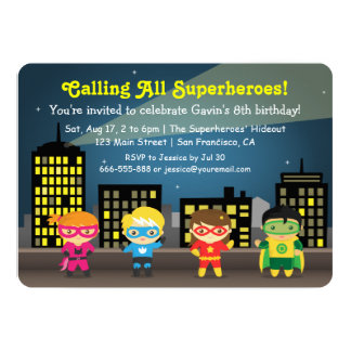Cute Colourful Superhero Birthday Party For Kids 13 Cm X 18 Cm Invitation Card