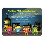 "Cute Colourful Superhero Birthday Party For Kids 5"" X 7"" Invitation Card"