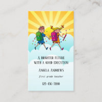 Cute Colourful Teacher Business Card
