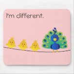 Cute & colourful toon of birds and a peacock mouse pad