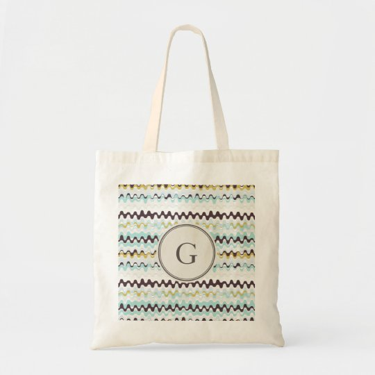 Cute colourful turquoise abstract pattern monogram tote bag
