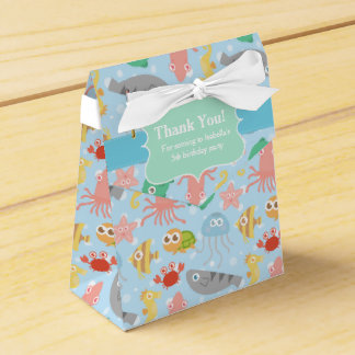 Cute, Colourful Underwater Animals Pattern Party Favour Boxes