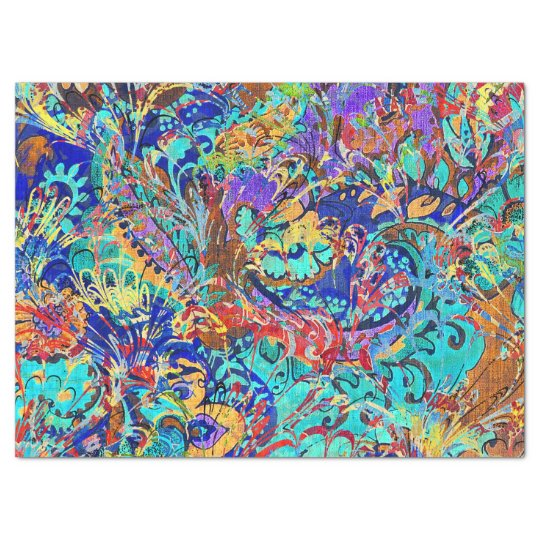 Cute colourful vintage floral tissue paper