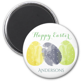CUTE COLOURFUL WATERCOLOR EASTER EGGS MONOGRAM 6 CM ROUND MAGNET