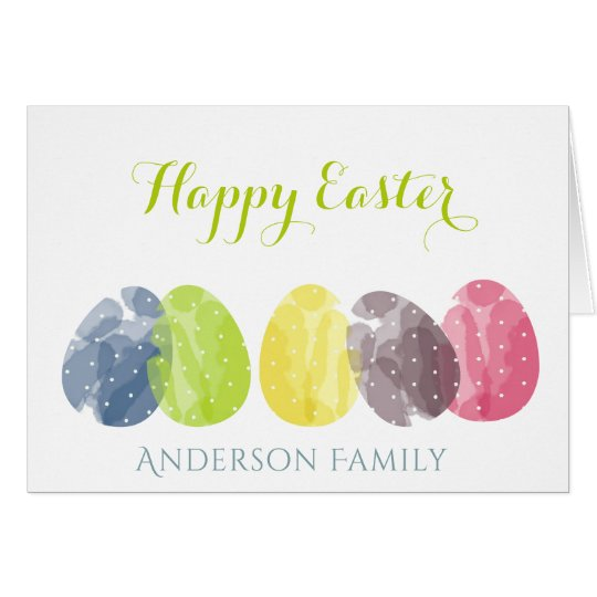 CUTE COLOURFUL WATERCOLOR EASTER EGGS MONOGRAM CARD
