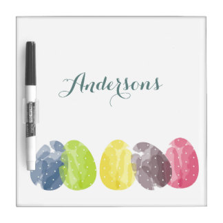 CUTE COLOURFUL WATERCOLOR EASTER EGGS MONOGRAM DRY ERASE BOARD