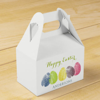 CUTE COLOURFUL WATERCOLOR EASTER EGGS MONOGRAM FAVOUR BOX