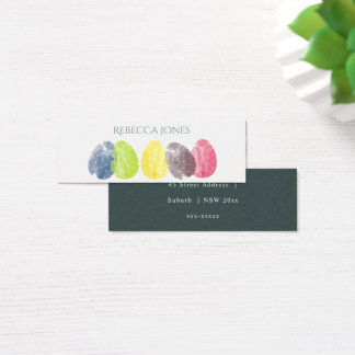 CUTE COLOURFUL WATERCOLOR EASTER EGGS MONOGRAM MINI BUSINESS CARD