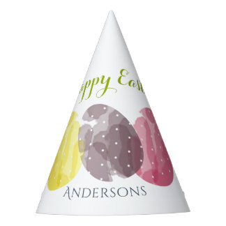 CUTE COLOURFUL WATERCOLOR EASTER EGGS MONOGRAM PARTY HAT
