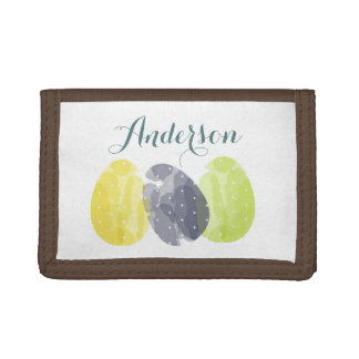 CUTE COLOURFUL WATERCOLOR EASTER EGGS MONOGRAM TRIFOLD WALLET