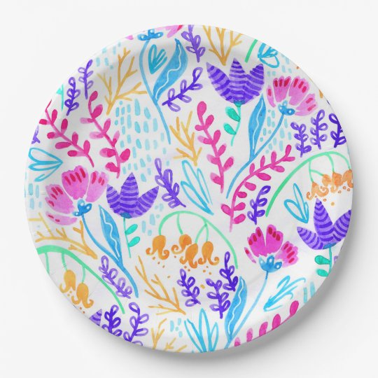 Cute colourful watercolor flowers paper plate