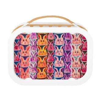 Cute Colourful Watercolour Bunny Rabbit Lunch Box