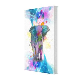 cute colourful watercolours splatters elephant canvas print