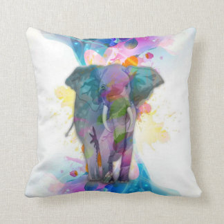 cute colourful watercolours splatters elephant cushion