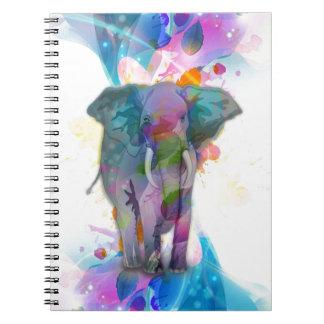 cute colourful watercolours splatters elephant notebook