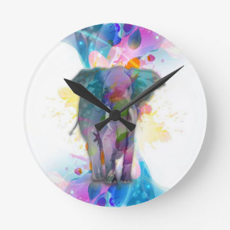 cute colourful watercolours splatters elephant round clock
