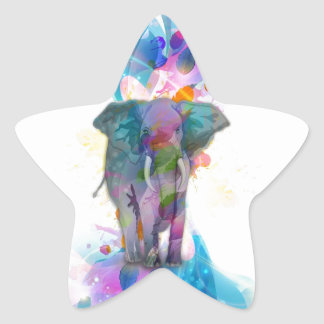 cute colourful watercolours splatters elephant star sticker