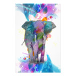 cute colourful watercolours splatters elephant custom stationery