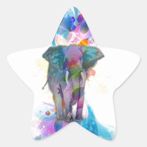 cute colourful watercolours splatters elephant sticker